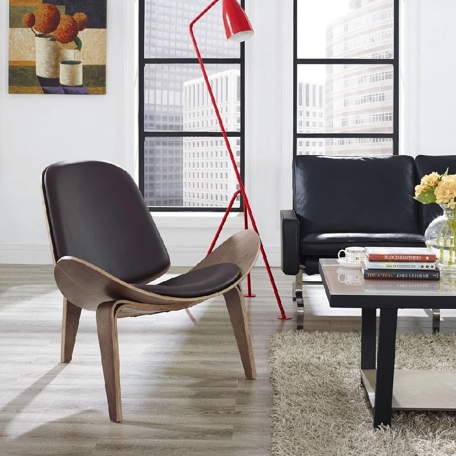 Ghế Shell [Ghế thư giãn] cao cấp 3 chân gỗ, mặt bọc đệm