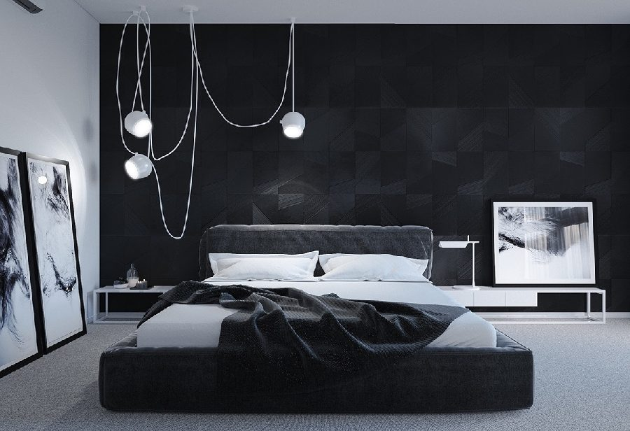 phòng ngủ tông đen trắng