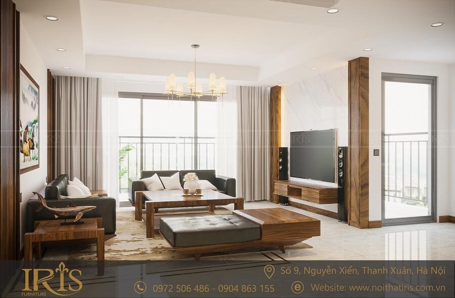 phong cách phòng khách hiện đại gỗ tự nhiên 1
