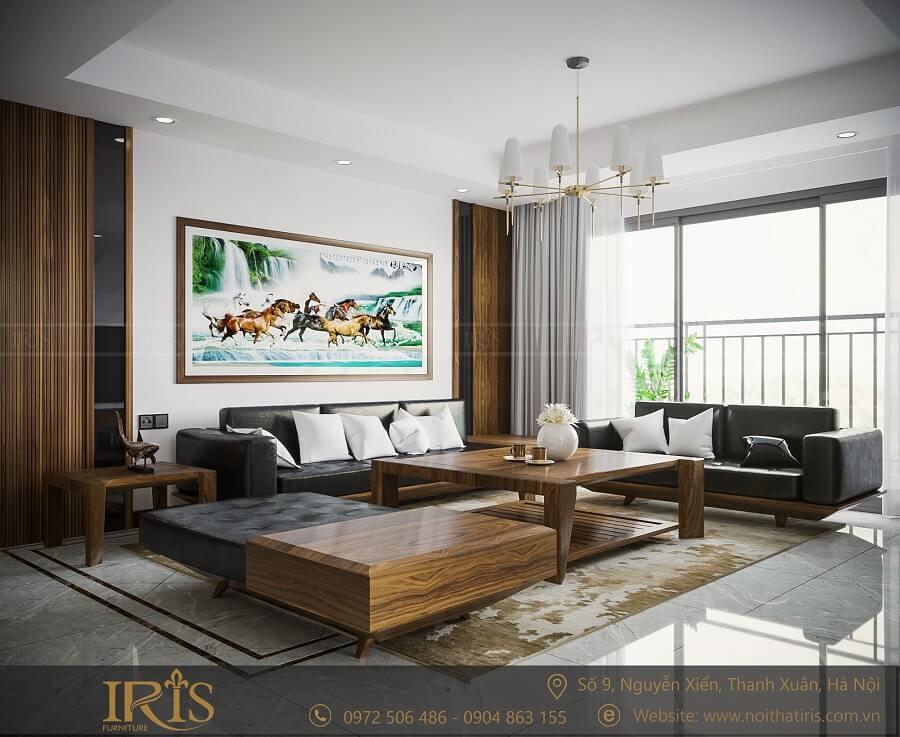 phong cách phòng khách hiện đại gỗ tự nhiên 3