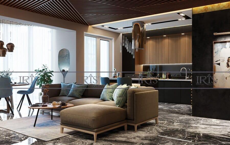 thiết kế nội thất phòng khách liền bếp 2