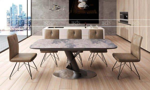 Bàn ăn thông minh mặt đá ceramic STC 3012 – GN – Brown