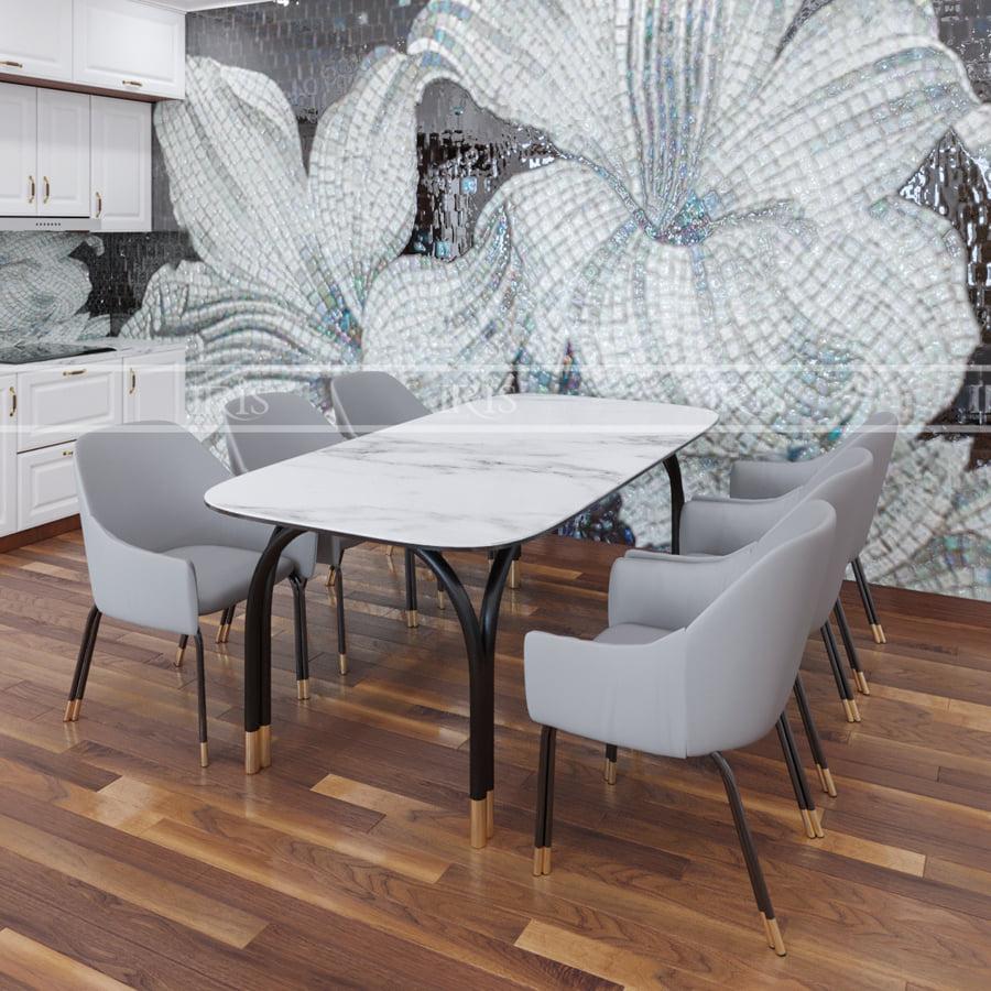 Mẫu bàn ăn 6 ghế mặt đá nhập khẩu