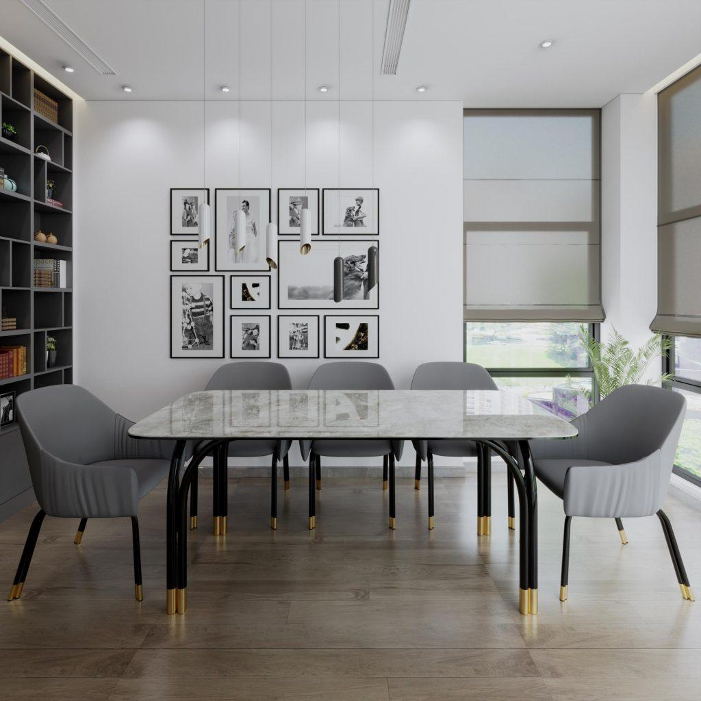 bàn ăn 6 ghế mặt đá hiện đại