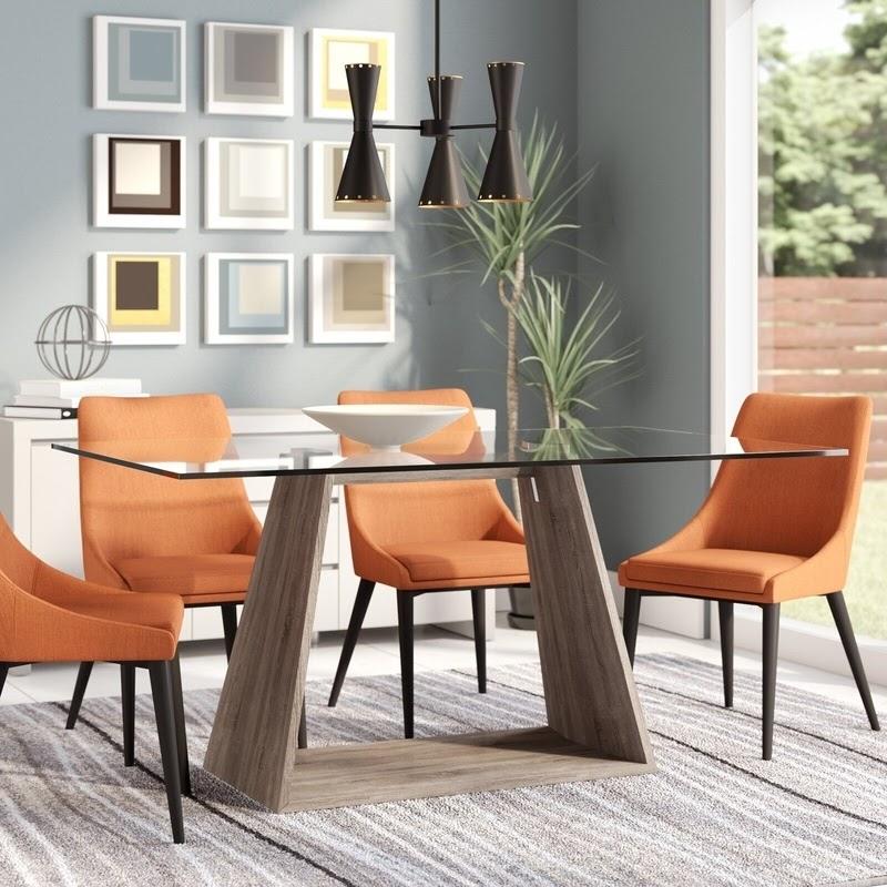 bàn ăn khung gỗ mặt kính
