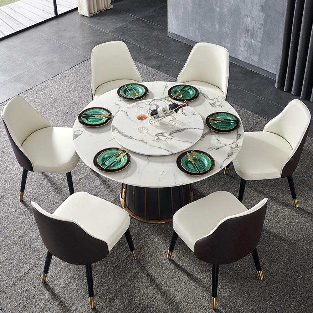 bàn ăn tròn mâm xoay bằng gỗ