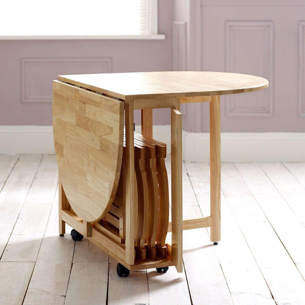 bộ bàn ăn gỗ gập