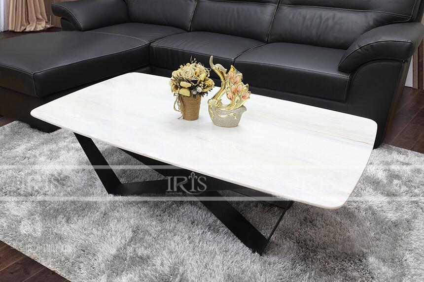 bàn trà kết hợp sofa da màu đen