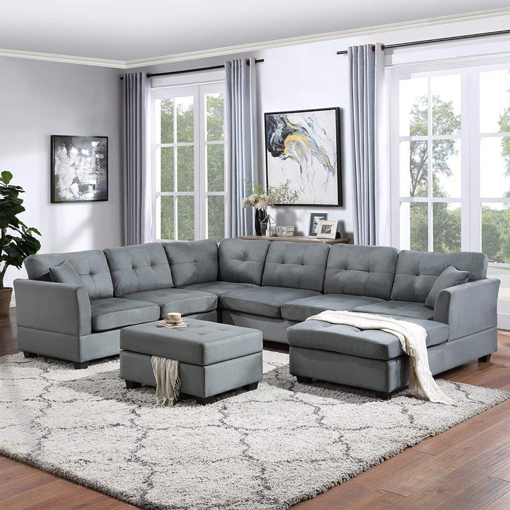 sofa da kiểu chữ u