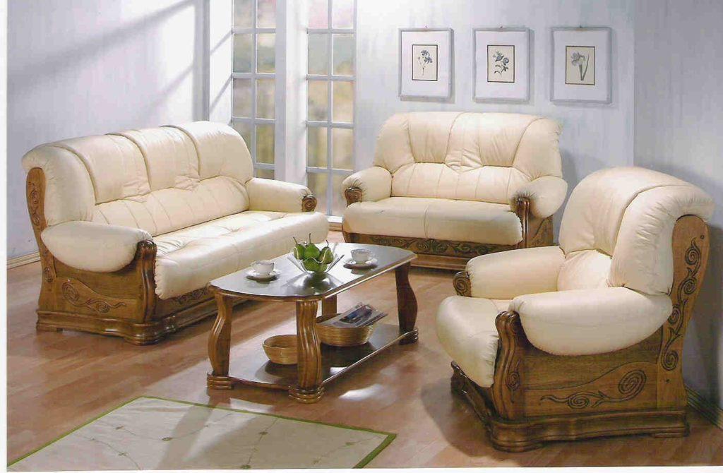 sofa gỗ da