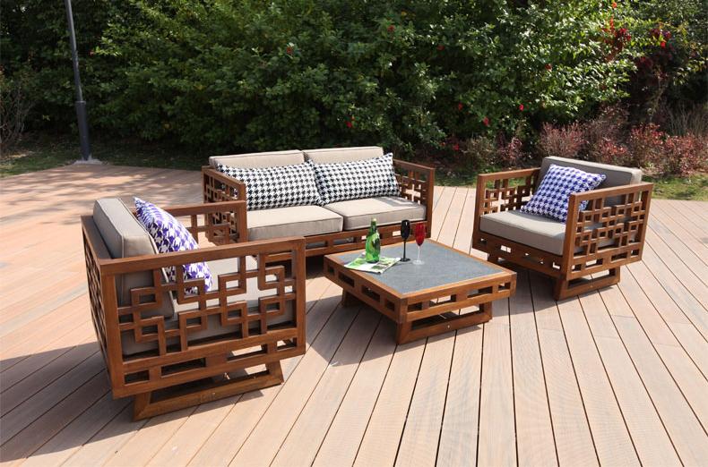 sofa gỗ tự nhiên ngoài trời