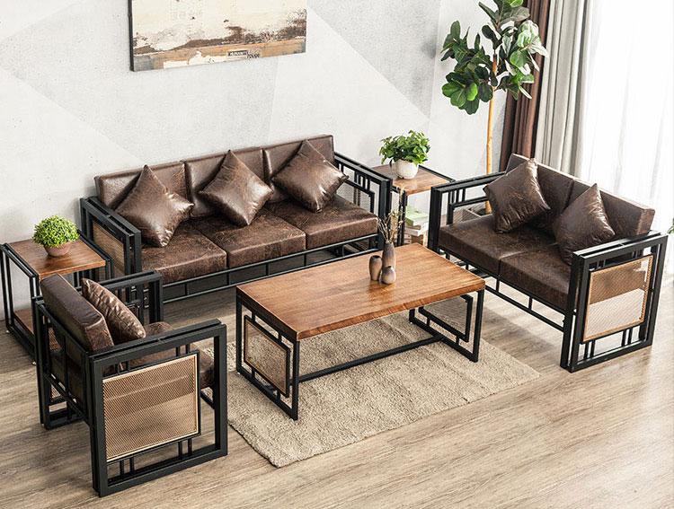 sofa sắt kết hợp gỗ