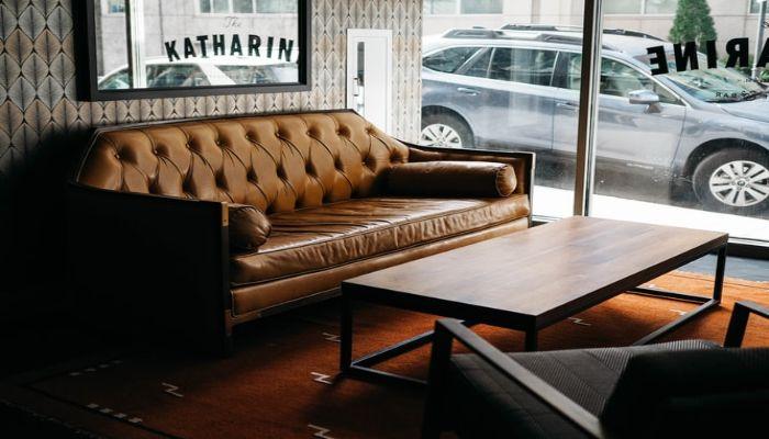 sofa vintage vải da