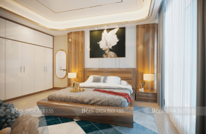 Thiết kế nội thất chung cư Greenbay gỗ óc chó