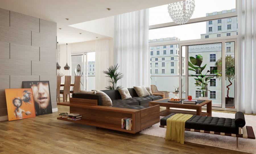 sofa gỗ công nghiệp hiện đại